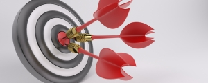 3D Render of Three arrows darts in center.